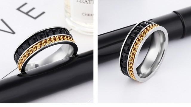Новое кольцо с цепочкой черный кубический цирконий мужское из