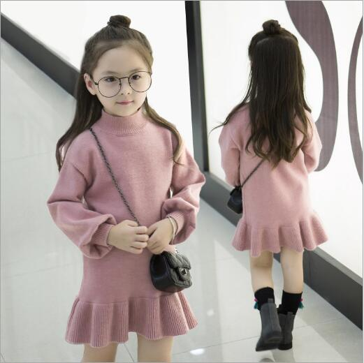 Winter Turtle Neck Knitted Girls Sweater Dresses Kids Long Sleeve Dress Girl Pincess Party Christmas Dress Ruffle Kids Clothing t100 children sweater winter wool girl child cartoon thick knitted girls cardigan warm sweater long sleeve toddler cardigan
