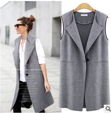 2016 Spring and Autumn New Women's Vest Long paragraph Lapel Vest Slim was Thin Sleeveless Jacket AXD1947