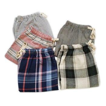 Hot Sale Casual Plaid 100% Cotton Home Shorts Men Sleep Bottoms Summer Thin Loose Male Pajamas Arrow Pants Short Sleep Pants