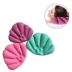 Poduszka do kąpieli nadmuchiwane spa poduszka miękka poduszka pod kark z przyssawkami do wanny akcesoria łazienkowe (losowy kolor)
