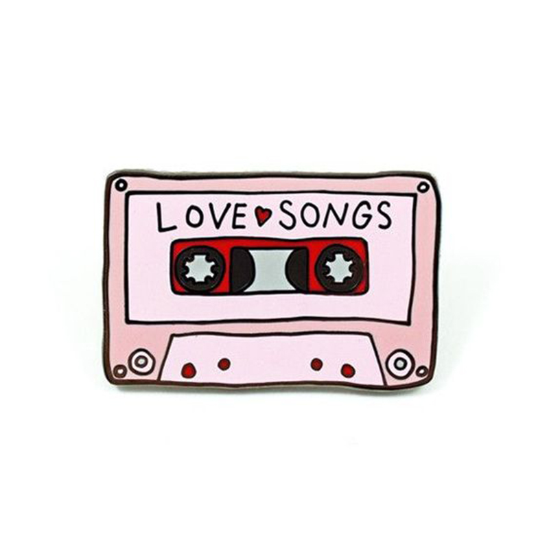 Love songs mix tape enamel pin 80s retro music brooch cassette tape