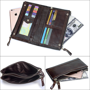 Image 5 - MISFITS Men brand Organizer wallets genuine leather double zipper clutch bag man cow leather Long purse Multi function phone bag