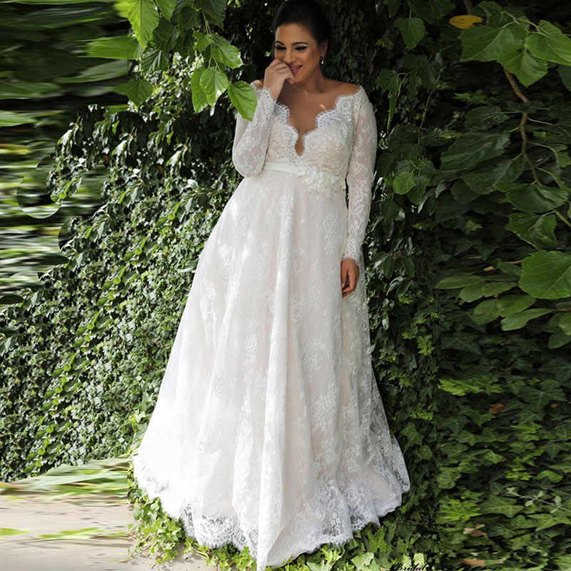 Plus Size Dresses To Wear To A Wedding: LORIE Long Sleeve Plus Size Lace Wedding Dresses 2019