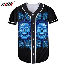 UJWI New Funny Blue Glitter Baseball Shirt 3D Printed Man Hip Hop DJ Skulls  Best Selling Mens Tshirt Wholesale Unisex T-shirt 1796b04d16e7