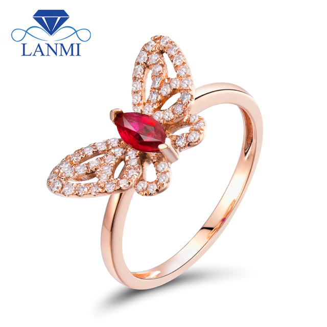 84b2175c5c0 LANMI Solid 18Kt Rose Gold Marquise Cut Red Ruby Diamond Wedding Rings  Butterfly Shape Jewelry for Women Anniversary