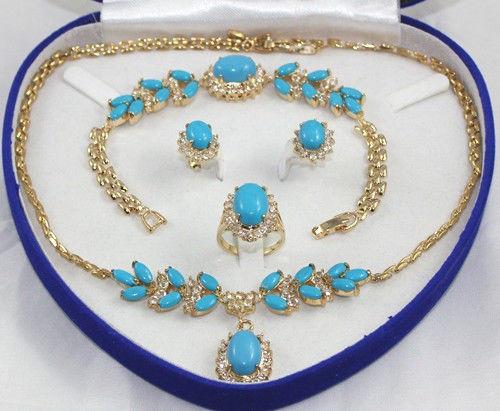1 set 18 K Or Jaune GP Inlay Turquoise Collier Bracelet Boucle D'oreille Anneau Une
