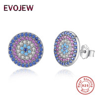 EVOJEW 100 Real 925 Sterling Silver Stud Earrings For Women Luminous CZ Round Earrings Women Engagement
