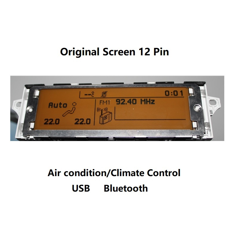 Car Screen Support USB Dual-zone Air AC Bluetooth Display Yellow Monitor 12 Pin Suitable 307 407 408 C4 C5 Car Display Screen(China)