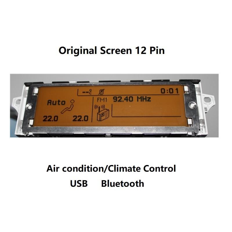 Tela de apoio do carro usb bluetooth, display do ar da zona dupla ac 12 pinos apropriados 307 407 c4 408 tela de exibição de carro c5