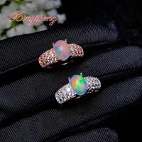 Xin yi peng 925 silver plated white gold rose gold inlaid natural colored opal ring the woman ring anniversary holiday gifts