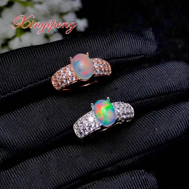 Xin yi peng 925 silver plated white gold rose gold inlaid natural colored opal ring the woman ring anniversary holiday giftsXin yi peng 925 silver plated white gold rose gold inlaid natural colored opal ring the woman ring anniversary holiday gifts