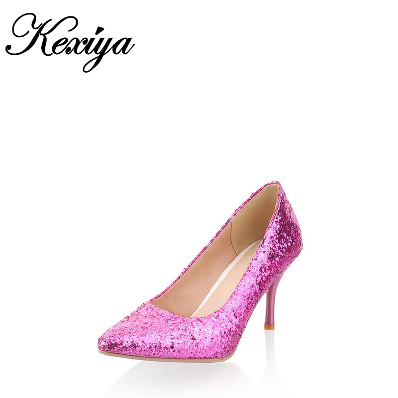 Plus size 30-47 fashion Pointed Toe Thin Heel women shoes sexy Slip-On Sequined Cloth wedding high heels small size 30 31 32 33