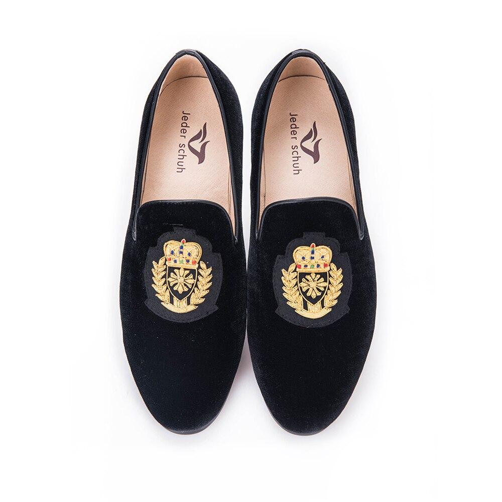 Shoes Homens E Temperamento Sapatos Coroa Dourado Seda Nobre Padrão Apartamentos Veludo Projeto Do De Black Folha Mocassins Da India Tecelagem H4Hdq