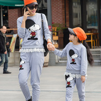 2015 Family Clothing Set Clothes Casual Cotton Character Hoodies Matching Mother And Daughter Hoodies Suits Plus