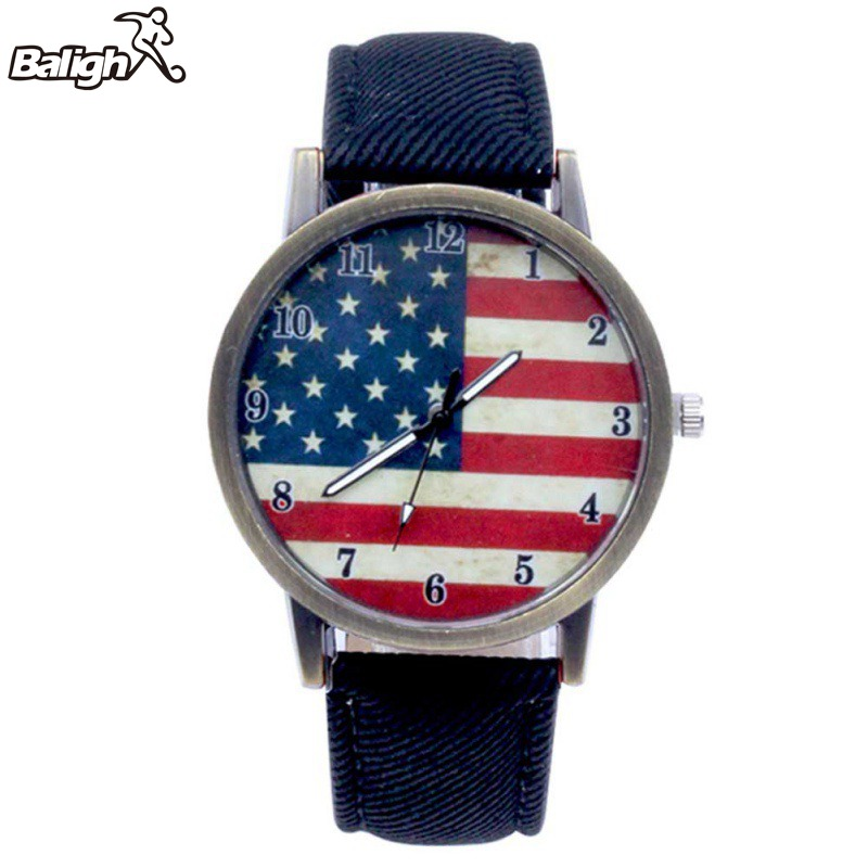 Women Luxury Couple Watch Men American Flag Pattern Leather Belt Quartz Watch Unisex 2019