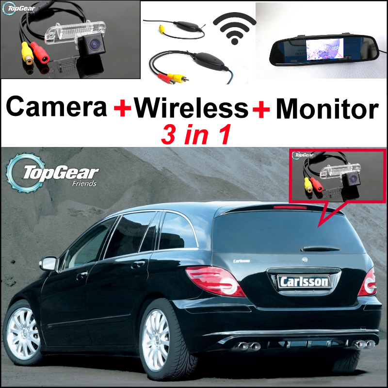 3in1 Special Camera + Wireless + Mirror Monitor Rear View Parking System For Mercedes Benz R MB W251 R300 R350 R500 R550 AMG