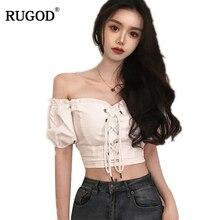 RUGOD 2018 Sexy Off Shoulder Puff Sleeve Drawstring Blouse Casual Slim High Elastic Chiffon Blouse H