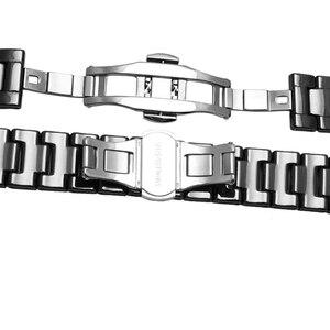 Image 3 - Ремешок для часов из жемчуга и керамики, вогнутый браслет диаметром 16*9 мм, разрешением 20*11 мм, цвет черный/белый