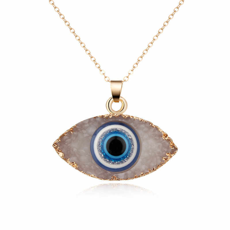 Personality Evil eyes Pendant Necklace For Women Long Chain Natural Stone Necklace Female Turkish Jewelry Christmas Gift
