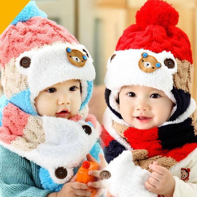 Детские зимние панда шапка и шарф комплект для новорожденных bebe Детский  Теплый вязаный акрил кепки костюм 4db9996355571