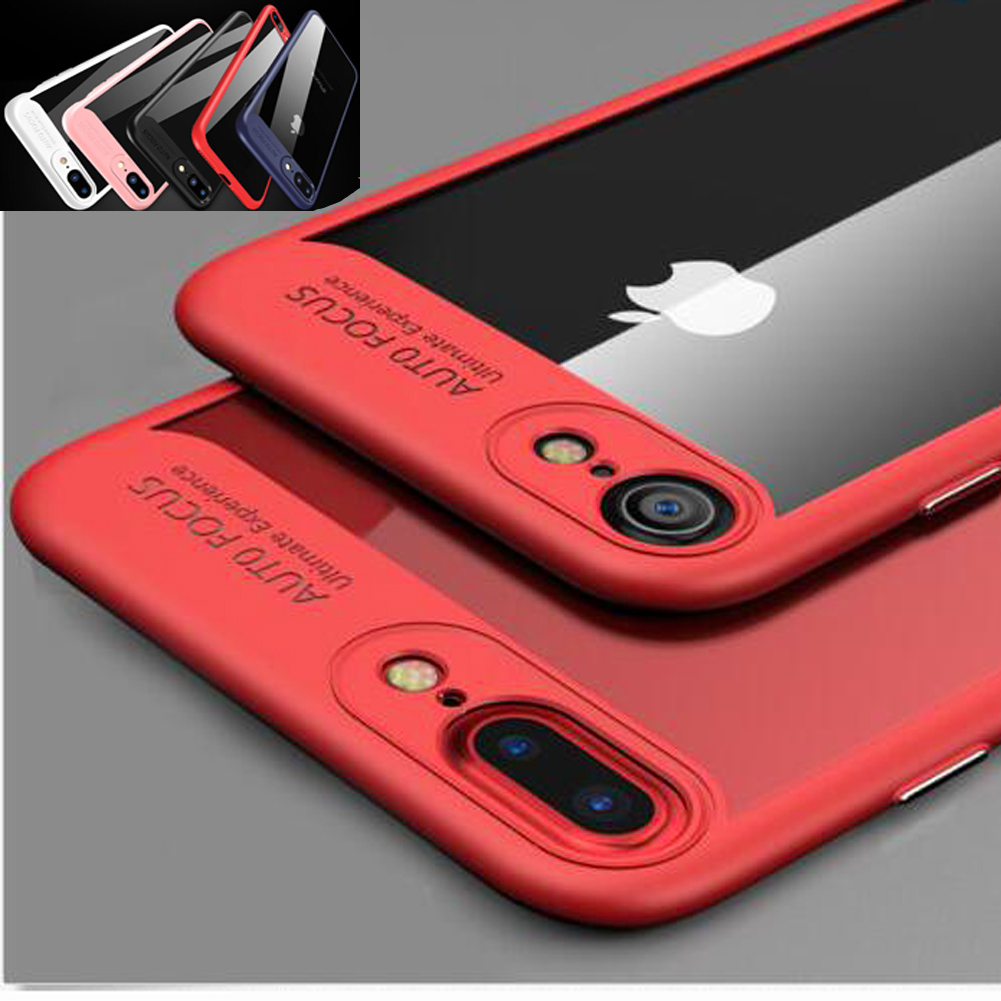 Jetjoy For iPhone X Ten 8 Plus Case Hybrid Clear Auto Focus Soft Silicone Frame Tough Acrylic Back Phone Cases Covers Coque