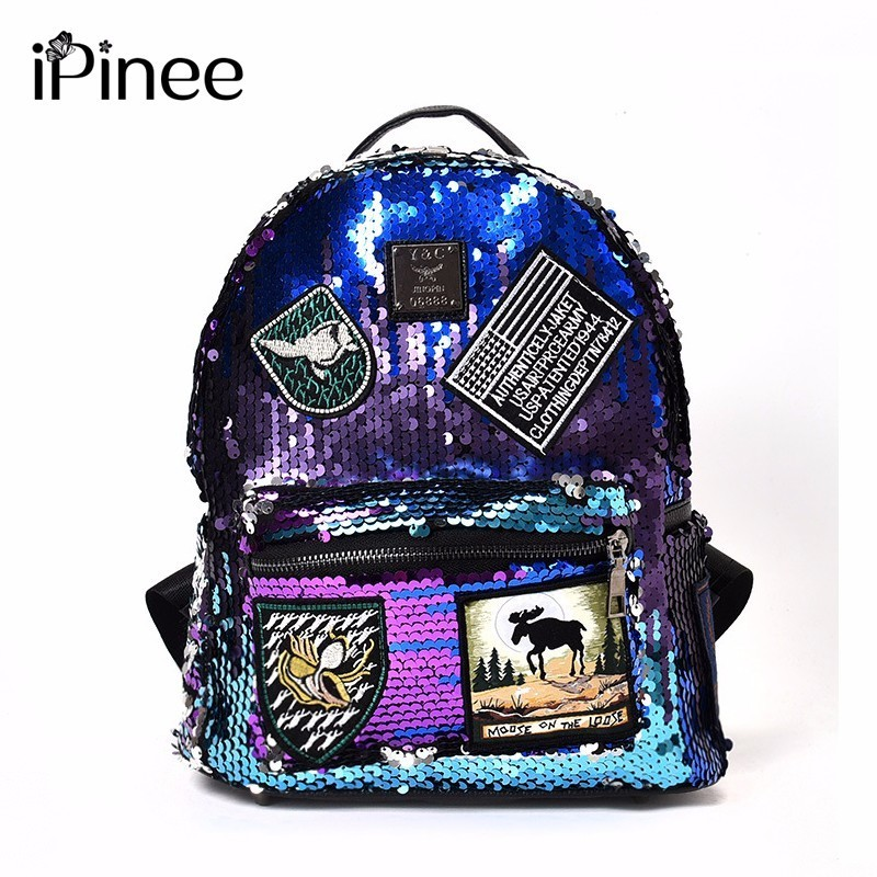 Paillette Both Shoulders Package Woman Korean 2018 Pattern Personality Badge Fashion Backpack Joker A Bag Time Travelling Tide