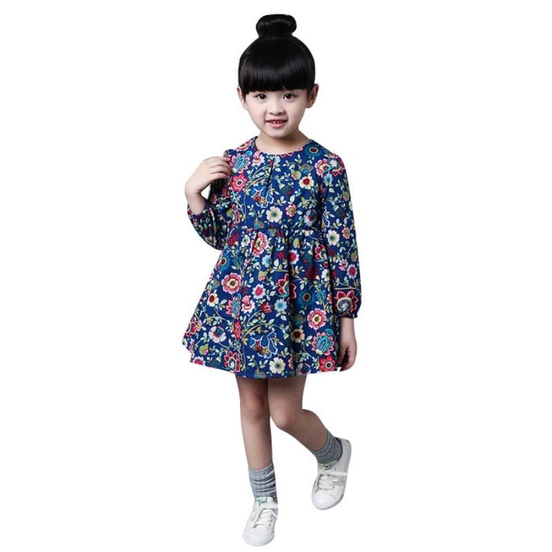 Vestido del bebé niños adolescentes patrón de impresión Vestidos de algodón  de manga larga ropa para niños niñas niño Vestidos 2-8 edades a11e716a25a