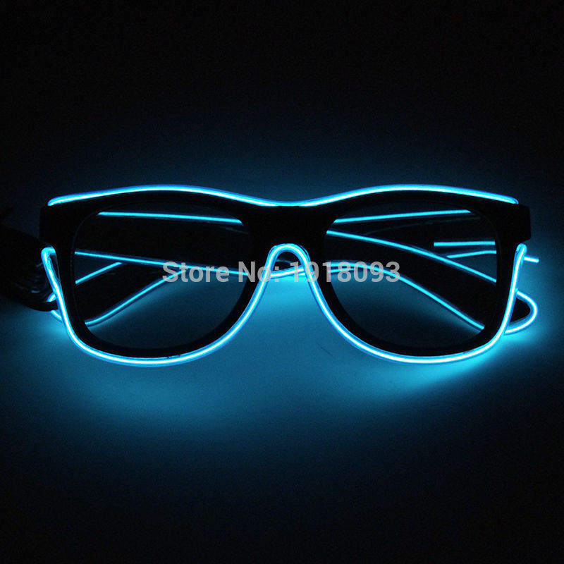 Fashionable Color Blue EL Wire Sun Glasses With Dark Lens EL Wire Rope Cable Novelty Lighting Costume Party Bright Glasses
