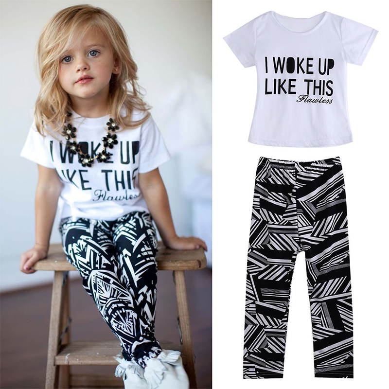 Hot Baby Girls Stripe I Woke Up Like This Toddler shirt and Pants Outfits Set children clothes outfit 2pcs freeshipping baby set girls stripe i woke up like this toddler shirt pants 2pcs outfits set