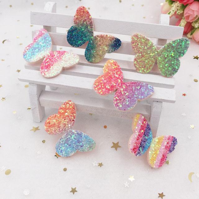 16pcs Glitter Paillette Rainbow Butterfly Felt Fabric Appliques Patches  Wedding DIY Hair Clip Accessories Craft Supplies SA42 d4e484327435