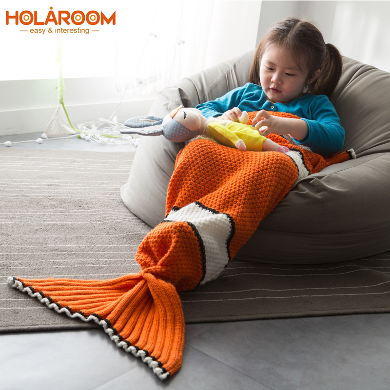Prime Us 13 98 40 Off Nimo Fish Mermaid Blanket Children Knitted Mermaid Tail Air Condition Blanket For Home Sofa Sleeping Bag Kids Sleeping Bag In Machost Co Dining Chair Design Ideas Machostcouk