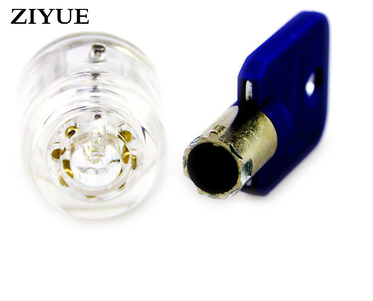 US $9 19 |Free Shipping Transparent Tubular Practice Lock 7 Pin Pick  Training Door Lock Skill Key Pick Practice Exercise-in Locks from Home