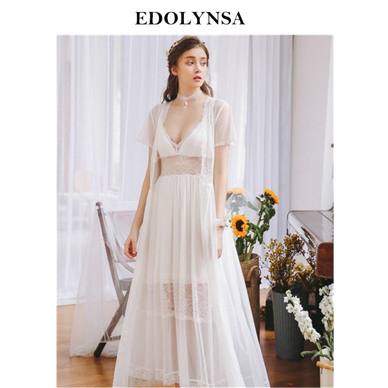 2019 Sexy Robe Gown Set Sleepwear Women Bathrobe Princess Peignoir Set Sheer Lace Kimono Deep V