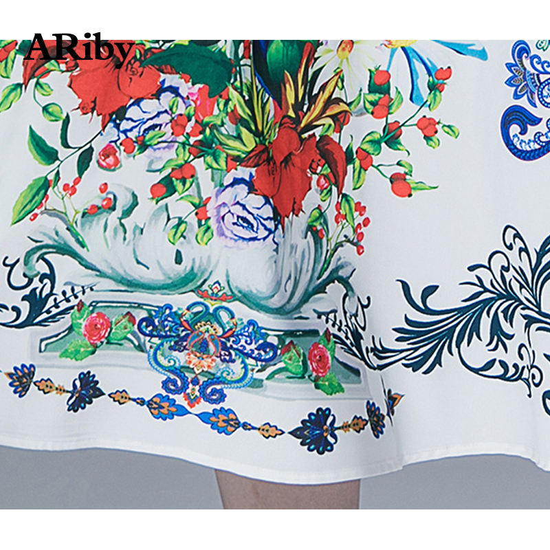 ARiby Women Summer Elegant Slim Dress 2019 New Office Lady Fashion Retro Temperament V neck Printed Short Sleeve Empire Dress in Dresses from Women 39 s Clothing