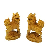 A pair of Chinese Unicorn lion and Sinus wood carving Dragon Mascot wooden sculpture furniture decoration