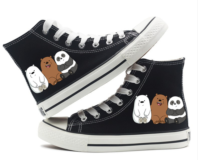 09d191526b23 We Bare Bears Grizzly Panda Ice Bear canvas Shoes High top Canvas Flat  Sneakers Shoes Women Casual Printing Shoes Leisure Shoes
