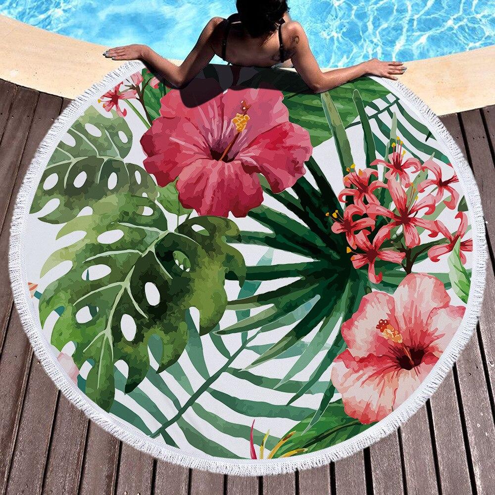 Plantas tropicales Microfiber Toalla de playa para adultos Yoga Mat manta de borla grande Flamingos toalla redonda 150 cm tapicería decoración del hogar