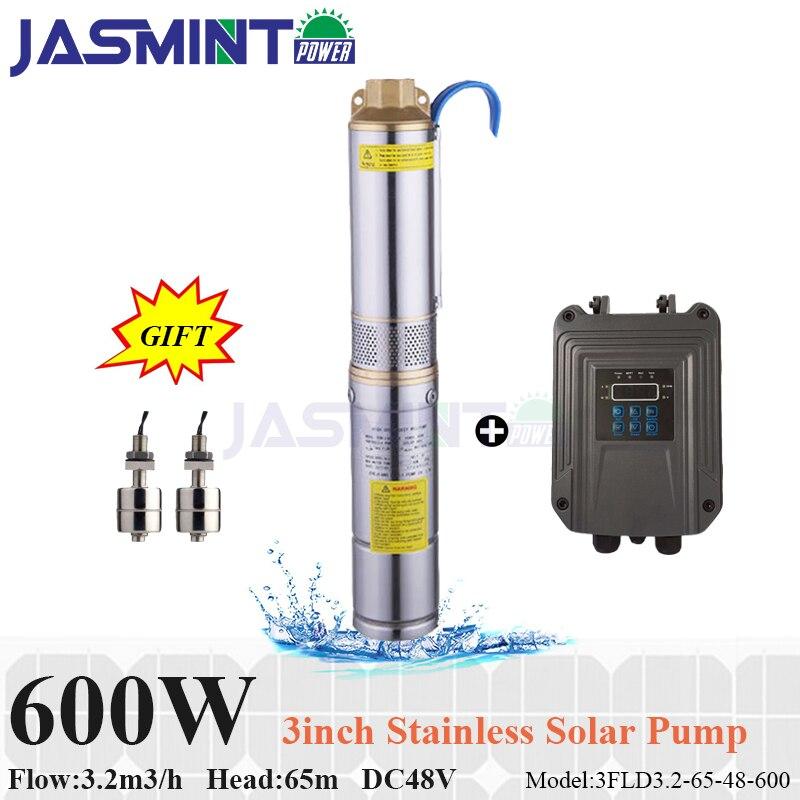 Débit solaire submersible 3.2m3/h de pompe à eau de 3 pouces 600 W DC48V, tête 65 m avec l'énergie solaire de pompe à eau de contrôleur de pompe de MPPT