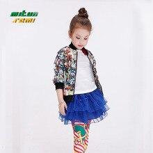 NEW Girls zipper jacket KID short sleeved fashion print Outerwear Windbreaker Baby Clothing