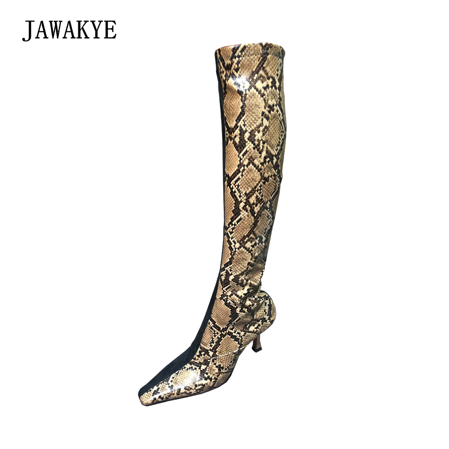 New Sexy Snakeskin knee High boots Women Square toe Special high heels winter boots Shoes Woman fashion Stretch long booties knee high boots snakeskin women shoes newest fashion cheap price best quality hot selling new designer luxury special noble