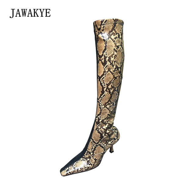 1dd3fee4247 New Sexy Snakeskin knee High boots Women Square toe Special high heels  winter boots Shoes Woman fashion Stretch long booties