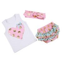 2017 Baby Girls Clothes 3pcs Top T Shirt Short Bloomers Headband Bow Polka Dots Newborn Girl
