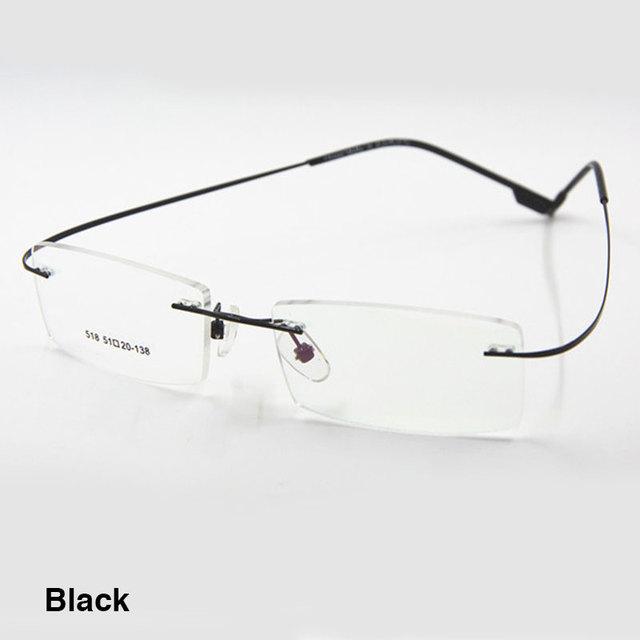 Modelo 518 flexible titanium sin rebordes marco de las lentes de prescripción óptica gafas gafas para mujeres y hombres