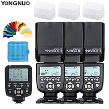 цена на 3pcs YONGNUO YN-560III YN560III Flash Speedlite + YN-560TX Wireless Flash Controller For Nikon d7100 d3100 d90 d5300 d3200 d750