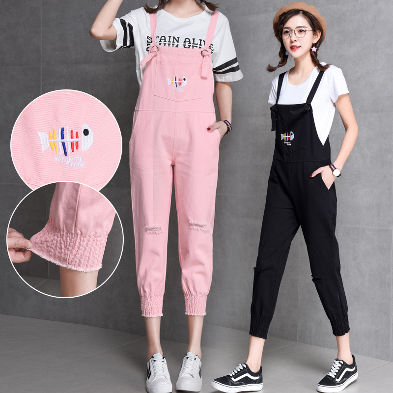 Fashion Fish Bone Embroidery Hole Ankle-length Women Denim   Jumpsuits   2018 Summer New Hot Female Casual Cute Denim Overalls Jeans