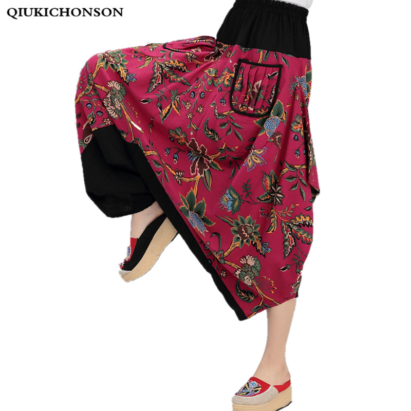 Loose printed Cross-pants femme spring/summer 2018 bohemian cotton and linen pockets colorful plus size Ankle-Length Pants women 2