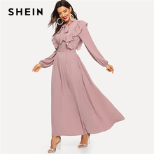 SHEIN Pink Abaya Tie Neck Fit and Flare Ruffle Pleated High Waist A Line Dress Women 2019 Spring Solid Elegant Maxi Dresses
