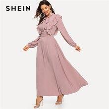 Shein Roze Abaya Tie Hals Fit En Flare Ruche Geplooide Hoge Taille Een Lijn Jurk Vrouwen 2019 Lente Solid Elegant maxi Jurken