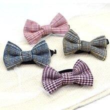 New School Boys Kids Children Houndstooth Wedding Solid Colour Tie Necktie